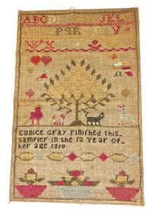 SMALL EARLY 19TH CENTURY ALPHABET SAMPLER BY EUNICE CLAY - 1819 NO RESERVE