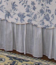 "Sophia Ticking Gathered Bed Skirt 18"" Drop"