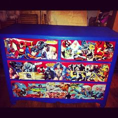 Custom made comic book furniture hand crafted designed just for you. Comic Book Crafts, Comic Books, Book Furniture, Painted Furniture, Decoupage, Kids Bedroom, Bedroom Ideas, Superhero Room, How To Make Comics