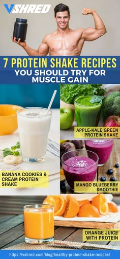 protein shake to gain muscle 7 Healthy and Delicious Protein Shake Recipes To Get Big and Strong Homemade Protein Shakes, Protein Shake Recipes, High Protein Snacks, Protein Milkshake, Orange Juice Smoothie, Endomorph Diet, Post Workout Protein, Healthy Juices, Weight Loss Smoothies