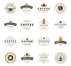 Coffee Shop Logos Badges and Labels Design Vector Image , Logo Design Template, Label Design, Vector Design, 3d Design, Café Vintage, Vintage Style, Logo Free, Coffee Shop Logo, Cafe Logo