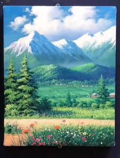 Scenery Paintings, Mountain Paintings, Landscape Oil Paintings, Watercolor Landscape, Canvas Painting Tutorials, Diy Canvas Art, Carillons Diy, Art Painting Gallery, Sky Art