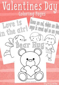 3 Sweet Valentines Day Coloring Pages - Easy Peasy and Fun