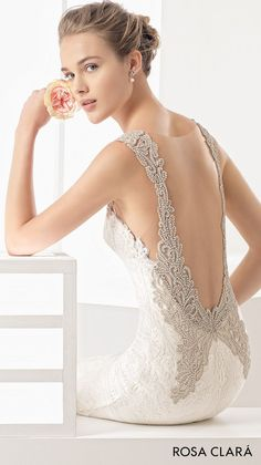 rosa clara 2017 bridal sleeveless embroidered strap sweetheart neckline full embellishment elegant fit and flare wedding dress open low back chapel train (nagore) zbv -- Rosa Clará 2017 Bridal Collection