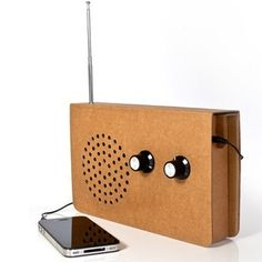 Cardboard FM radio and portable speaker for your iPod, by Christopher McNicholl