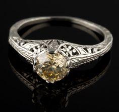 Vintage Filigree Art Nouveau Diamond Engagement