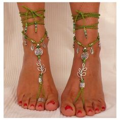 Silver LEAF BAREFOOT SANDALS green foot jewelry hippie sandals toe... ❤ liked on Polyvore featuring jewelry, silver bead jewelry, silver anklets, silver jewellery, beading jewelry and crochet jewelry #jewelrysilverideas