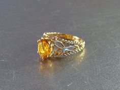 18K HGE Ring Golden Topaz Birthstone Solitaire by LynnHislopJewels