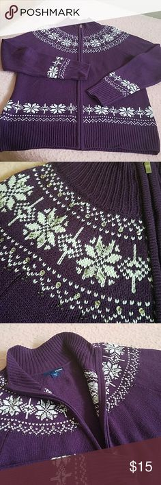 Great zip up Sweater Zip up Sweater with Nordic design around neck and sleeves. Sequins and beads adorn snowflakes around neckline. New w/o tags Edition Sweaters Cardigans