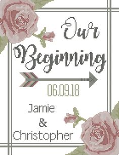 Our Beginning Roses & Arrows Wedding Cross Stitch Pattern, Personalized cross stitch pattern for you by oneofakindbabydesign on Etsy