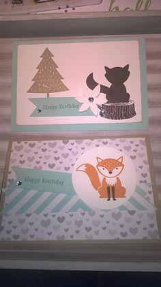 Karten mit dem stampin'up stempelset foxy Friends und dem dazu passenden Designer Papier im block.