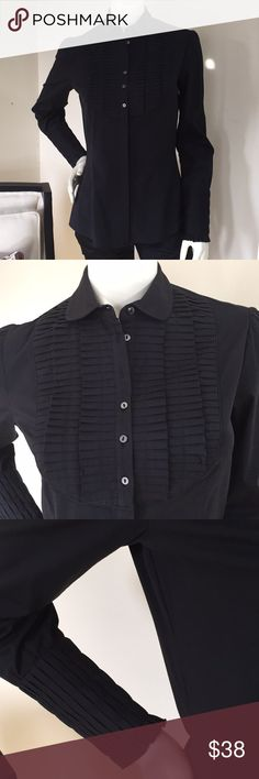 """New! Black Zara Button Down w/ Beautiful Details Bought in Paris.  Beautiful detail on the chest and arms.  It's fitted and looks great with anything.  You can wear it untucked or tucked in because it fits so nicely!  It's new without tags!  Bust 18"""" Length 25"""" Zara Tops Button Down Shirts"""