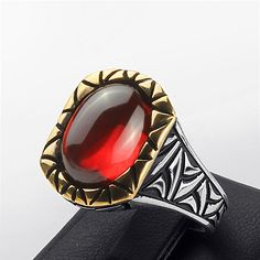 Men's Ring Sterling Silver 11.5 us size Red Quartz by ATAjewels #mensring…