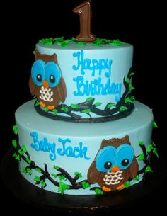 Owl 1st Birthday Cake. Blue buttercream iced, round 2 tiers decorated with owls perched on branches. Everything on this cake is edible. (Serves 28-55 party slices.)