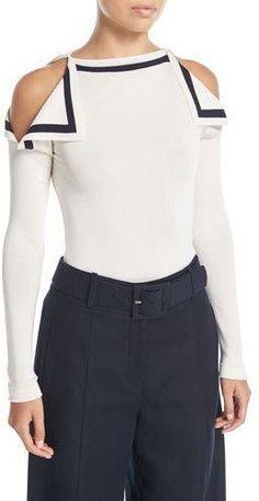 Oscar de la Renta High-Neck Cold-Shoulder Pullover Top - Women's style: Patterns of sustainability Blouse Styles, Blouse Designs, Alternative Mode, Fashion Details, Fashion Design, Only Fashion, Mode Style, Diy Clothes, Designer Dresses