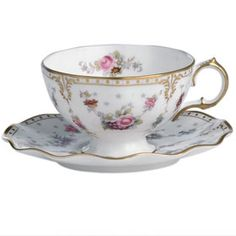 my wedding china Royal Crown Derby Royal Antoinette Tea Cup and Saucer