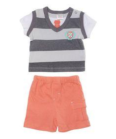 Another great find on #zulily! Gray Stripe Sweater Vest Tee & Salmon Shorts by Cutie Pie Baby #zulilyfinds