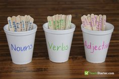 Write nouns, verbs and adjectives on paddle pop sticks, and then name foam cups with nouns, verbs and adjectives. A great hands-on writing activity where Teaching Nouns, Adjectives Activities, Nouns And Adjectives, Grammar Activities, Teaching Aids, Teaching Writing, Writing Activities, Teaching English, English Writing