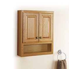Bathroom Wall Wood Medicine Cabinet, Honey Oak