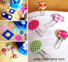 {DIY} Marque-pages Badges en tissu Diy For Kids, Crafts For Kids, Diy Crafts, Diy Cadeau Maitresse, Diy Marque Page, Papier Diy, Diy Bookmarks, Cute Little Things, Paper Clip