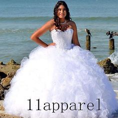 Ball Gown White Beading Quinceanera Dresses Ruffles Party Prom Wedding Gowns New
