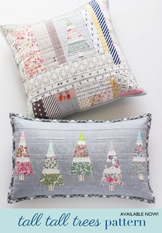 Patchwork Pillow Christmas Sewing Projects New Ideas Sewing Pillows, Diy Pillows, Decorative Pillows, Christmas Cushions, Christmas Pillow, Patchwork Pillow, Quilted Pillow, Tree Patterns, Quilt Patterns