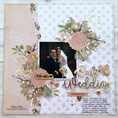 Our Wedding Layout with Heat Embossing Process Video - Simply Rebeca Friend Scrapbook, School Scrapbook, Scrapbook Paper, Baseball Scrapbook, Wedding Album Layout, Wedding Scrapbook Pages, Wedding Albums, Scrapbook Designs, Scrapbook Page Layouts