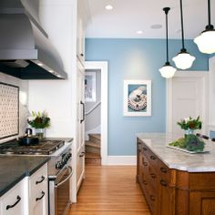 Benjamin Moore 'Buxton Blue' HC-149 in eggshell < This might be too blue for the base color
