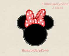 Tête de Minnie Mouse avec noeud Applique design de broderie pour machine. Téléchargement instantané. Créoles en 4 x 4 6 x 10 et 5 x 7. 3 tailles. Symbole de Disney