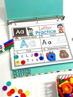 Alphabet Binder – Planning Playtime Alphabet Activities for Preschool or Kindergarten – Interactive Binder Letter Activities, Preschool Learning Activities, Preschool At Home, Preschool Curriculum, Preschool Classroom, In Kindergarten, Toddler Activities, Kids Learning, Free Preschool