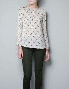 BIRD PRINT BLOUSE - Shirts - Woman - ZARA United States.  I'm a sucker for bird shirts.