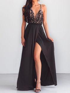 c0005f116eec Spaghetti Strap High Slit Patchwork Evening Dress
