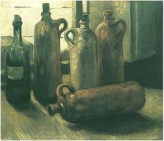 Vincent van Gogh: Still Life with Five Bottles Painting, Oil on Canvas Nuenen: November, 1884 Österreichische Galerie Belvedere Vienna, Austria, Europe