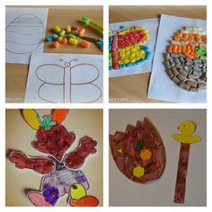 DIY bricolage Pâques : lapin articulé, oeuf décoré en Playmaïs, marionnette papier poussin