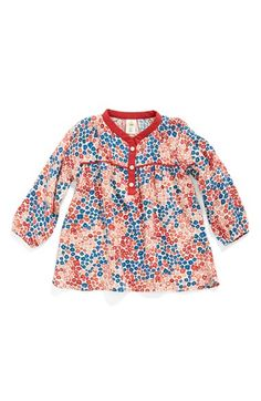 Free shipping and returns on Tucker + Tate Print Top (Baby Girls) at Nordstrom.com. Blouson sleeves and a relaxed cut enhance the breezy look and feel of a lightweight print top. Contrast trim at the placket and yoke perfectly complements the cheery style.