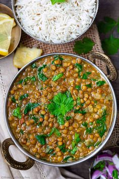 Whole Masoor Dal Palak is a vegan and gluten free lentils curry made with whole masoor (brown lentils) and spinach. This creamy thick dal is full of texture and overall a very nutritious Lentil Recipes, Vegetarian Recipes, Healthy Recipes, Vegan Side Dishes, Vegetable Side Dishes, Vegetable Recipes, Side Recipes, Indian Food Recipes, Ethnic Recipes