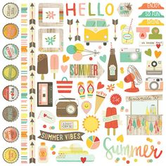 Simple Stories - Summer Vibes Collection - 12 x 12 Cardstock Stickers - Fundamentals at Scrapbook.com