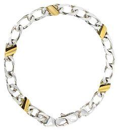 f251314dd <b>Tiffany & Co.</b> Cuban Link 18k Gold Sterling Silver Italy 7.5
