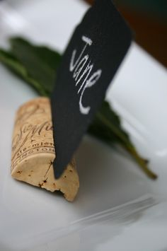 Place Card Holders or Cheese Tray Markers: cut a cork in half lengthwise, make a slit along the top rounded edge, insert marker Wine And Cheese Party, Wine Tasting Party, Wine Parties, Wine Cork Wedding, Wedding Table, Name Card Holder, Place Card Holders, Wine Cork Crafts, Picture Holders