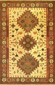 Afshar (wheat/green - Kazak design 1) by A Rug For All Reasons | Constructed with the very sturdy soumak weave (a type of flatweave construction) from our Kazak collection, these durable rugs are created by a warp-wrapping process.