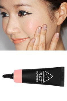 3CE cream blusher #3CE ***just noticed that her nail color is too cool and/or too gray for her skin