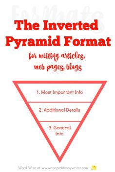 The Inverted Pyramid article writing format for online writing with Word Wise at Nonprofit Copywriter Content Writing Courses, Writing Websites, Blog Websites, Writing Resources, Blog Writing, Writing Services, Essay Writing, Writing Tips, Writing Skills