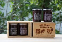 Lovely minimal branding using transparency. We love that wooden box touch!  Also pretty intrigued by a tapenade with a touch of honey!