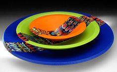 "Kremer Glass Studio - Archive : Digressions fused and slumped glass, matte finish    conical 10"" dia.    bowl 15"" dia.   platter 20"" dia."