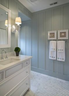 nice look for a beach house bathroom Love the rectangular sinks. This is why I got them!