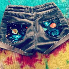 DIY fabric on high waisted jean shorts. Great idea, will be doing this with the shorts I'm about to make.