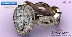 Pear Diamond Engagement Halo Pre-Set Unique Ring GIA G SI1 14k Yellow Gold 2.3 ct