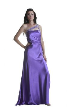 One Shoulder Short Purple Chiffon Beaded Ruffle Cocktail Party ...