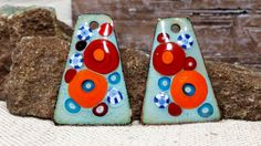 Aqua Caliente Fiesta Enamel Earring Charms for by BlueHareartwear