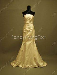 fancyflyingfox.com Offers High Quality Ivory Satin Strapless Neckline Full Length Trumpet/Fishtail Wedding Dresses ,Priced At Only US$189.00 (Free Shipping)